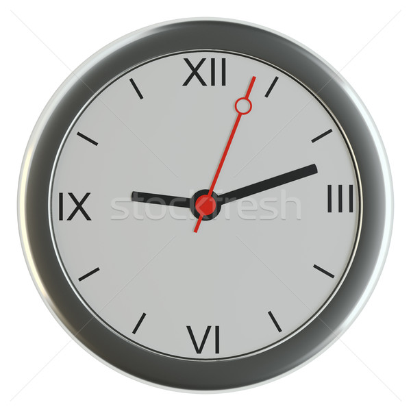 Realistic classic silver round wall clock Stock photo © cherezoff