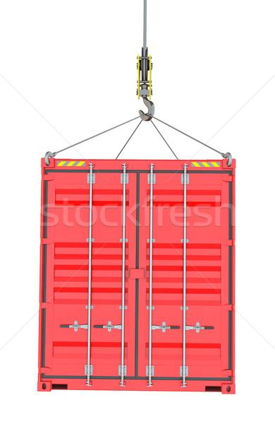 Piros teher konténer kampó izolált fehér Stock fotó © cherezoff