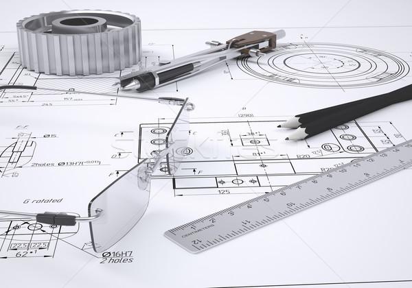 Foto stock: óculos · governante · bússola · lápis · engrenagem · mentir