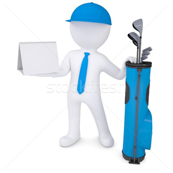 Foto d'archivio: 3D · uomo · bianco · calendario · bag · golf