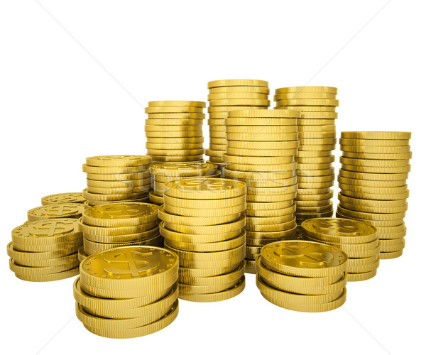 Złote monety odizolowany oddać biały działalności Zdjęcia stock © cherezoff