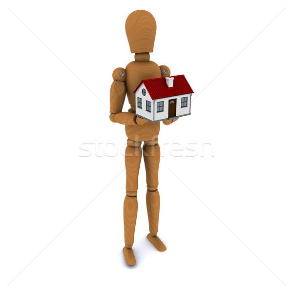 Standing wooden man holding a house with red roof. 3D rendering Stock photo © cherezoff
