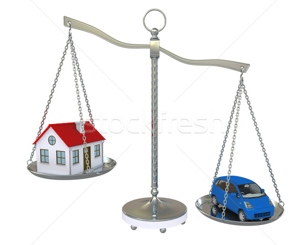 Home and car balance scales Stock photo © cherezoff