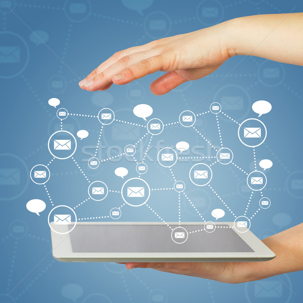 Hands, tablet pc and contacts Stock photo © cherezoff