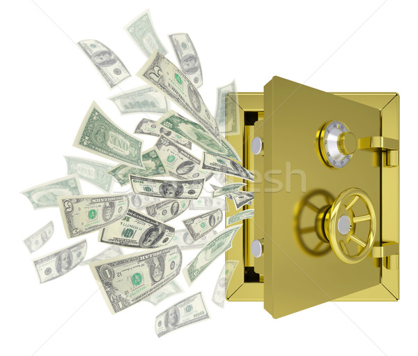 Dollars are emitted from an open safe Stock photo © cherezoff