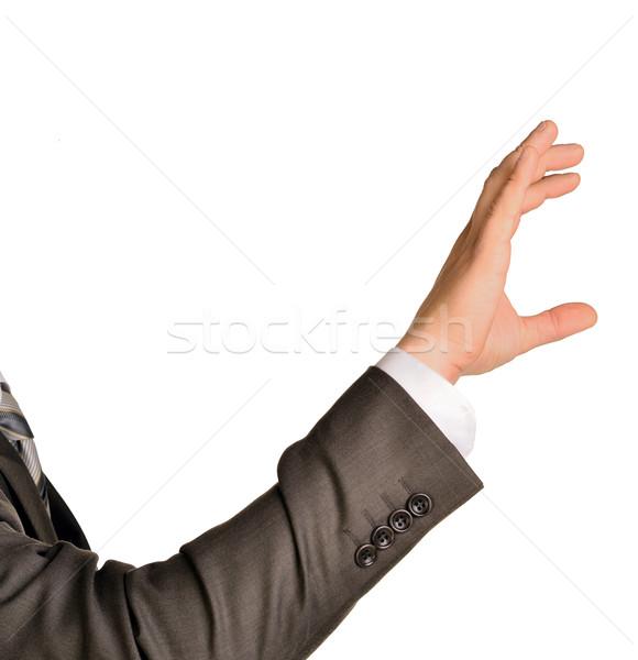 Businessman hand to hold palm gadget Stock photo © cherezoff