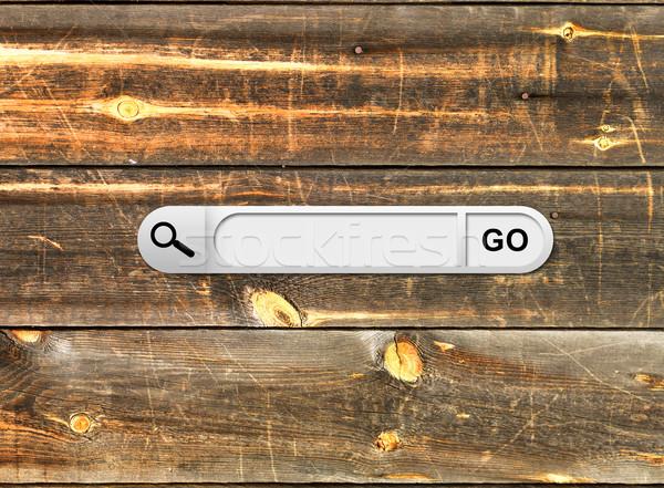Zoek bar browser houten geschilderd Stockfoto © cherezoff