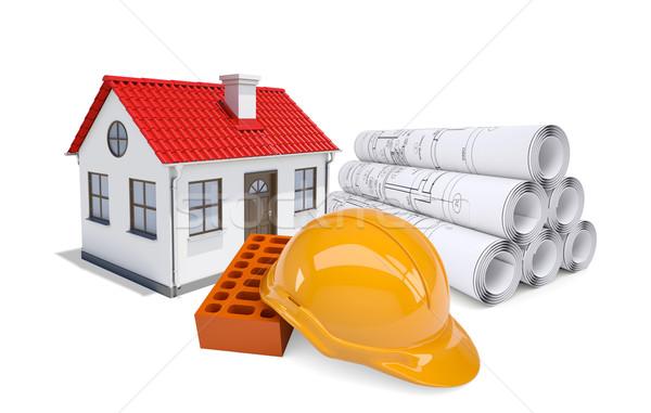 Сток-фото: небольшой · модель · дома · красный · крыши