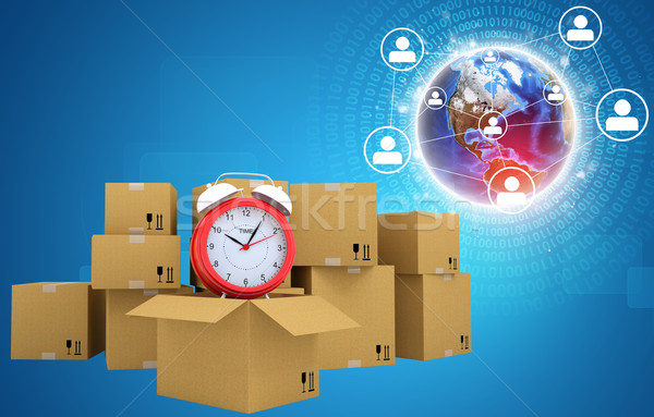 Postal boxes on them alarm clock. Backdrop of earth, network Stock photo © cherezoff