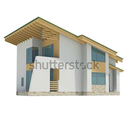 Cottage with windows in clouds. Background sun shines brightly Stock photo © cherezoff
