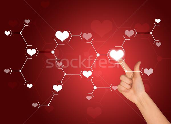 Işaret parmağı beyaz kalp imzalamak bağlantı kırmızı Stok fotoğraf © cherezoff
