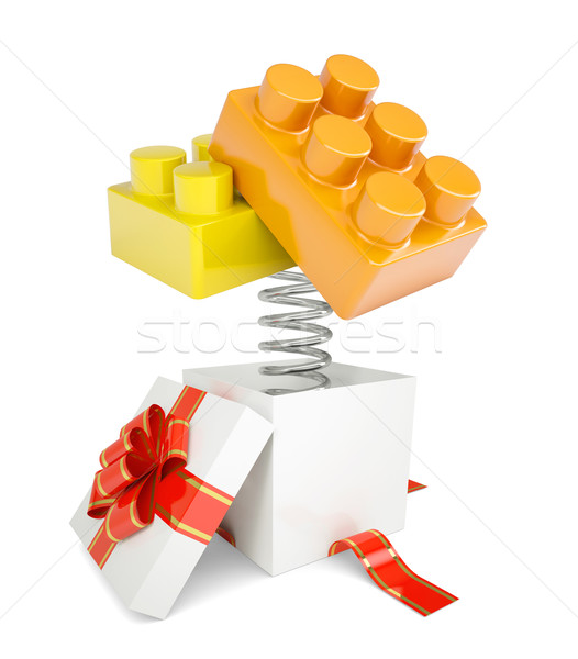 Caixa de presente vermelho banda brinquedo tijolos primavera Foto stock © cherezoff