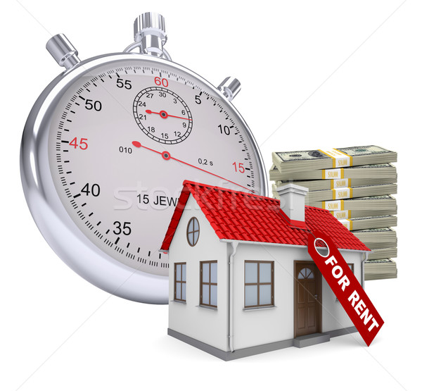 Timer with house for rent and stack of money Stock photo © cherezoff
