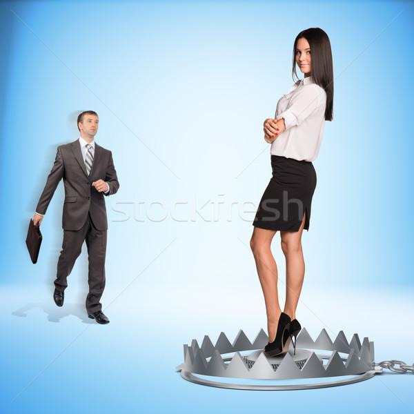 üzletember hölgy medve csapda kék lány Stock fotó © cherezoff