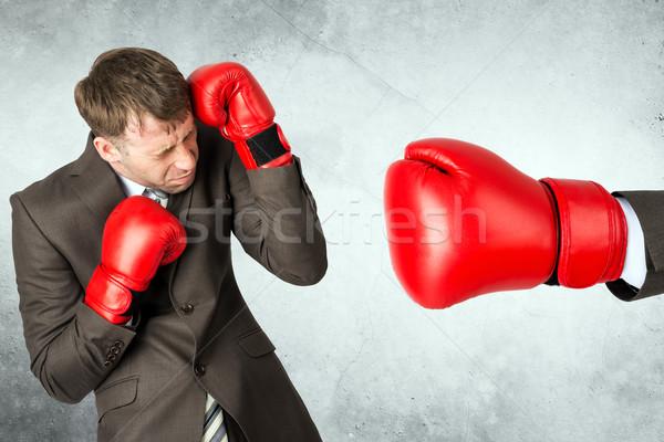 бизнесмен красный боксерская перчатка боксерские перчатки большой человека Сток-фото © cherezoff