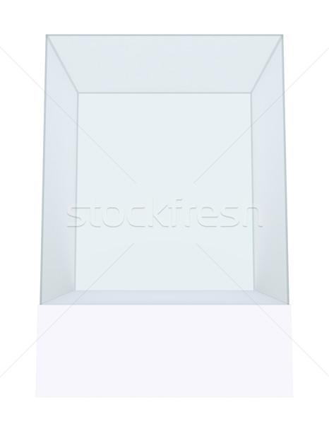 Glass cube on pedestal. 3d illustration  Stock photo © cherezoff