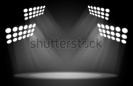 Room with wooden floor and spotlights Stock photo © cherezoff