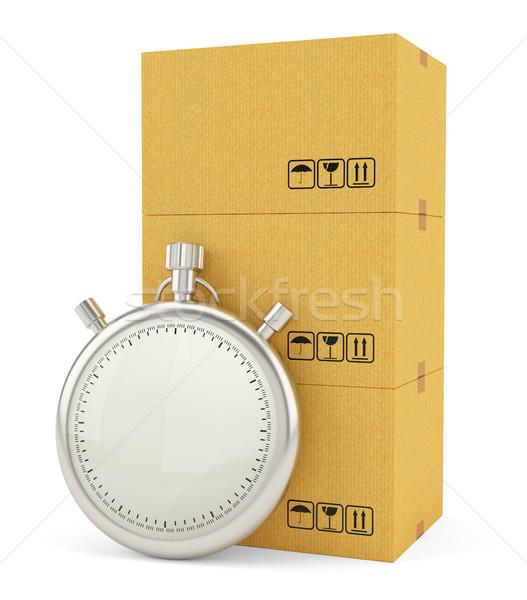 Karton dobozok stopperóra izolált fehér expressz szállítás Stock fotó © cherezoff