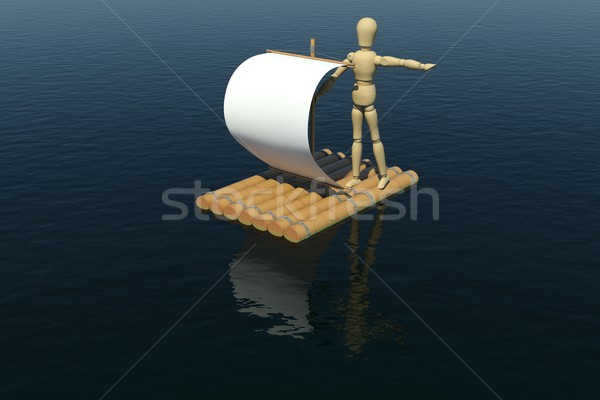 The wooden man floats on a raft with a white sail Stock photo © cherezoff