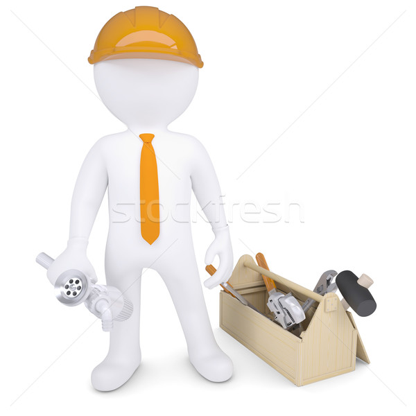 Plumber with tools and siphon Stock photo © cherezoff