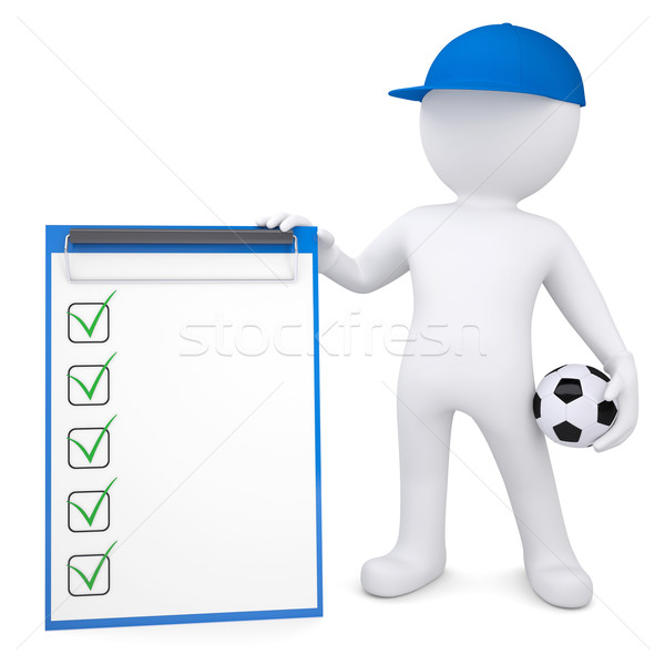 3d white man with soccer ball and checklist Stock photo © cherezoff