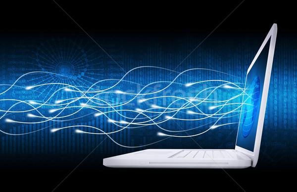 ノートパソコン 世界中 グロー 日光 携帯 通信 ストックフォト © cherezoff