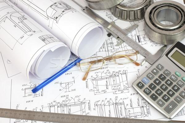 Construction drawings. Desk Engineer Stock photo © cherezoff