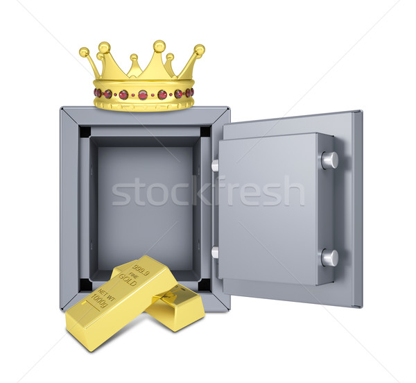 Gold crown, gold bullion and safe Stock photo © cherezoff