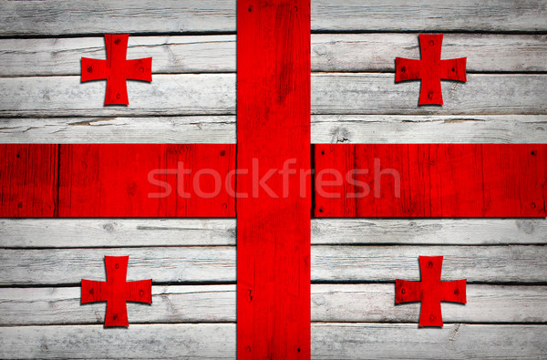 Georgian flag painted on wooden boards Stock photo © cherezoff