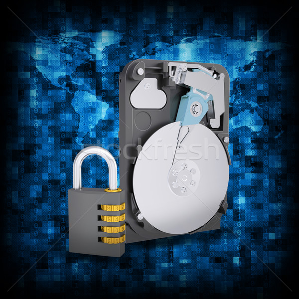 Binary code and HDD with combination lock Stock photo © cherezoff