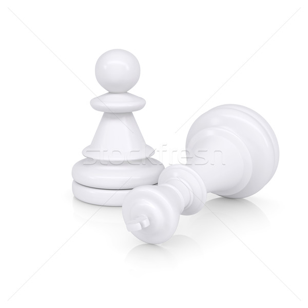 White defeated chess king is near pawns Stock photo © cherezoff