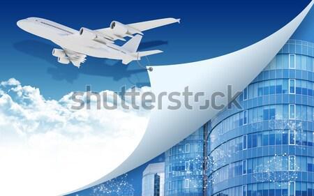 Vliegtuig touw rand papieren vliegtuig papier wereldkaart Stockfoto © cherezoff