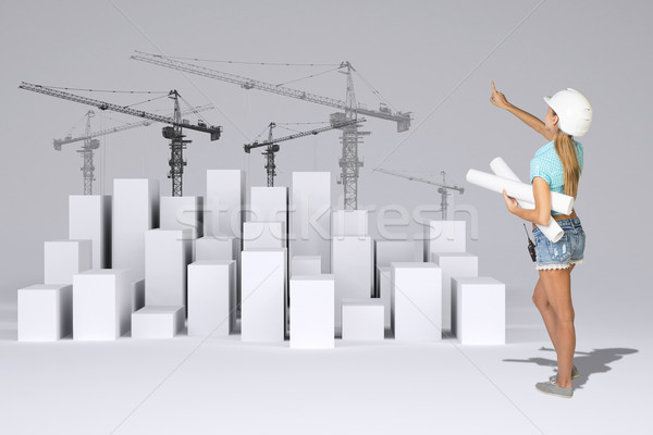 Girl holding paper scrolls. Rear view. Minimalistic city with tower cranes Stock photo © cherezoff