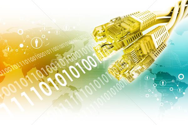 Zestaw złoty kabel komputerowy streszczenie kolorowy mapie świata Zdjęcia stock © cherezoff
