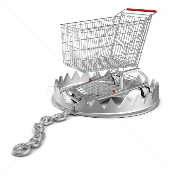 ショッピングカート クマ トラップ 孤立した 白 クローズアップ ストックフォト © cherezoff