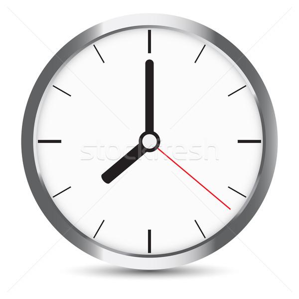 Round clock with gray frame on white Stock photo © cherezoff