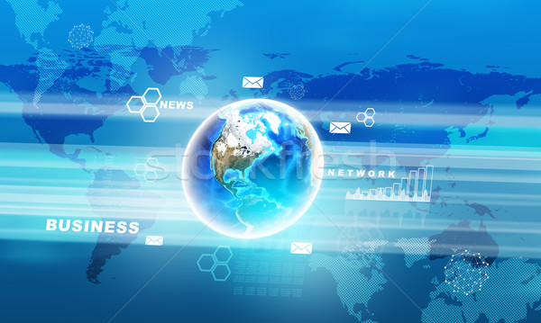 Stockfoto: Abstract · Blauw · aarde · wereldbol · verschillend · symbolen