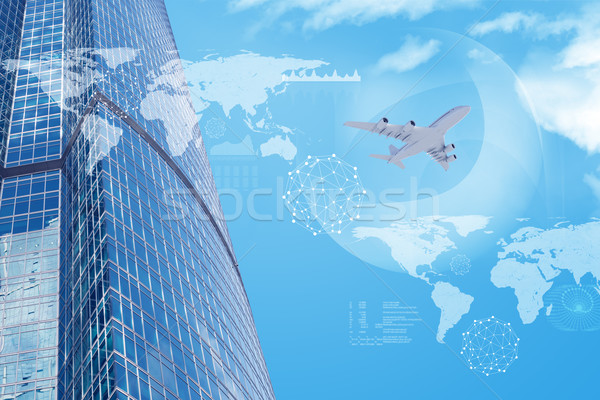 High-rise buildings with jet and world map Stock photo © cherezoff