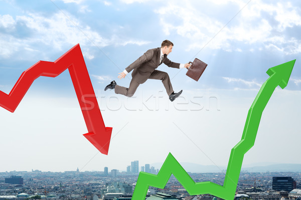 Businessman hopping arrows Stock photo © cherezoff