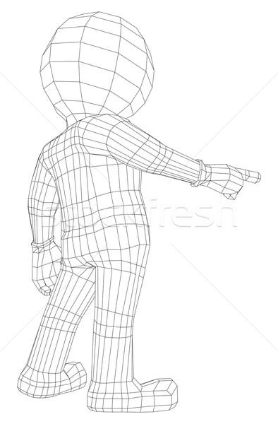Fantoche o homem 3d indicação câmera isolado branco Foto stock © cherezoff