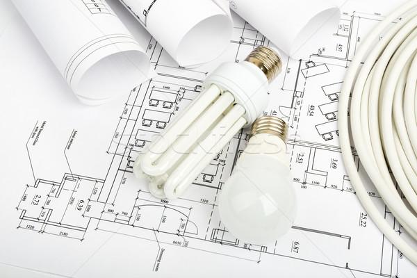 építészet terv tekercsek tervrajzok ház építkezés Stock fotó © cherezoff