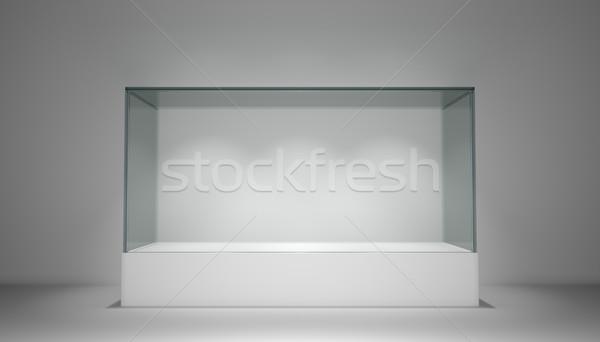 空っぽ ガラス ショーケース 展示 コピースペース 3D ストックフォト © cherezoff
