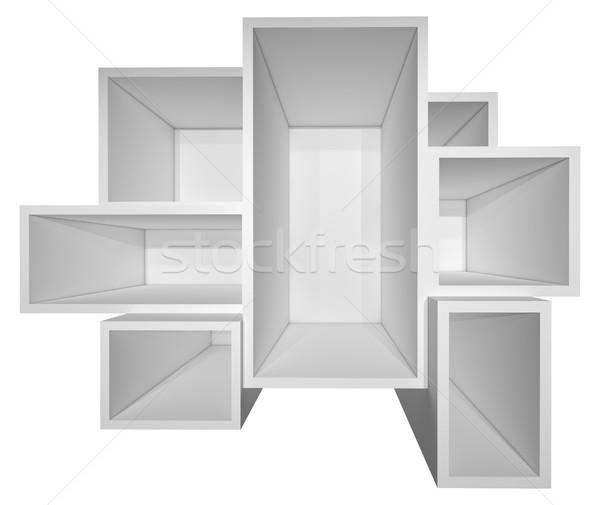 Pusty biały półka na książki odizolowany 3d ilustracji działalności Zdjęcia stock © cherezoff