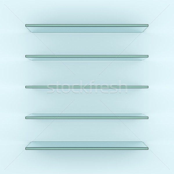 Empty glass shelves, 3d rendering Stock photo © cherezoff