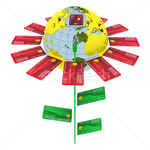 Flower of bank cards, internet cable, and the Earth - plant business Stock photo © cherezoff