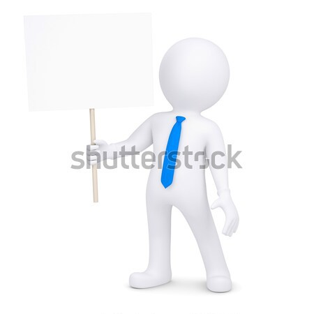 Stock photo: 3d white man with a hammer