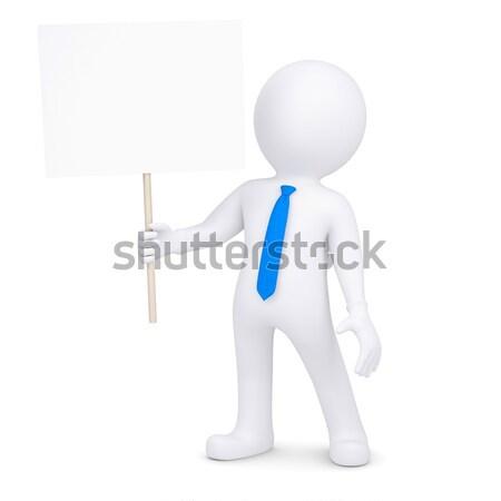 3D biały człowiek młotek odizolowany oddać biały Zdjęcia stock © cherezoff