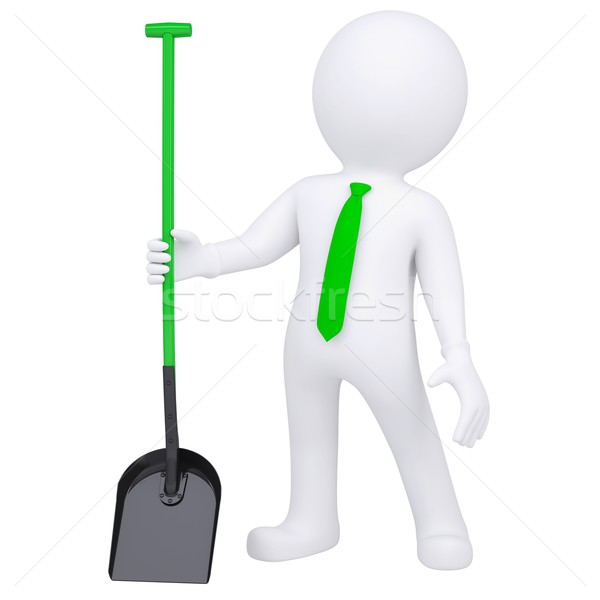 3d white man standing and holding a shovel Stock photo © cherezoff