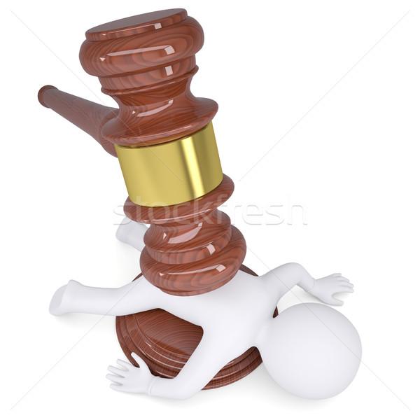 3d white man under the hammer of the judge Stock photo © cherezoff