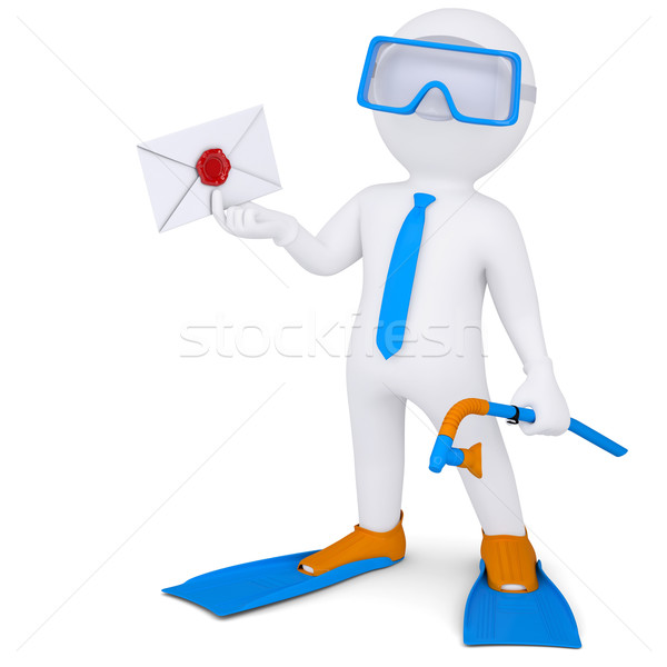 3d man with flippers holding an envelope Stock photo © cherezoff